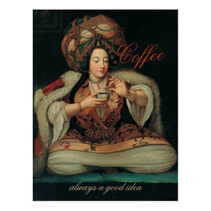 Ottoman lady enjoying coffee CC0266 Postcard