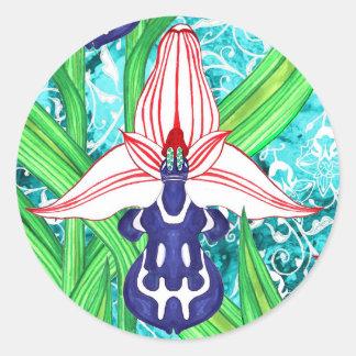 Ottoman Orchid Stickers Round Sticker