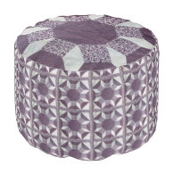 Ottoman - Purple Quilt Pattern Round Pouf