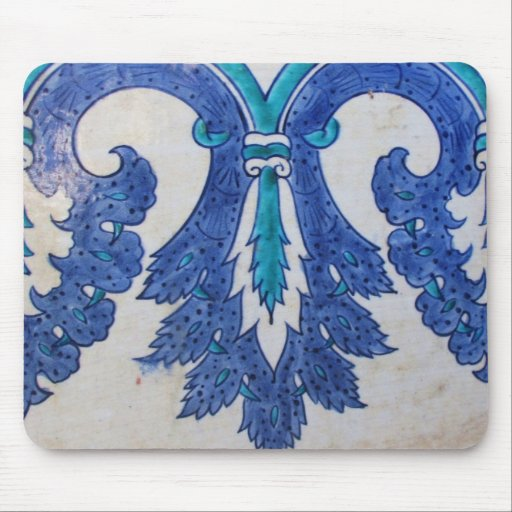 Ottoman Tile blue and white stylized design Mouse Pad