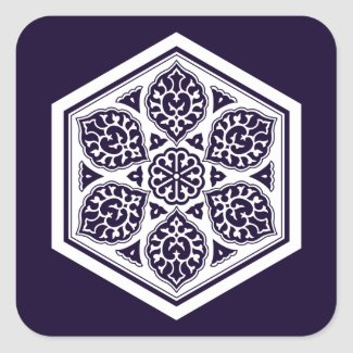 Ottoman turkish blue ware rosette design square sticker