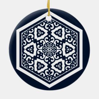 Ottoman turkish blue ware tracery design ceramic ornament
