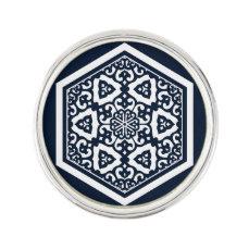 Ottoman turkish blue ware tracery design pin