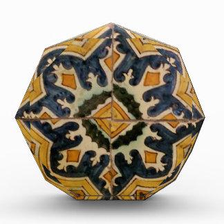 Ottoman Turkish vintage ceramic tile yellow star Award