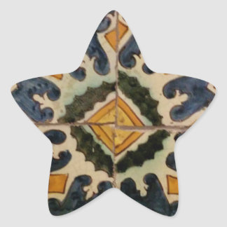 Ottoman Turkish vintage ceramic tile yellow star Star Sticker