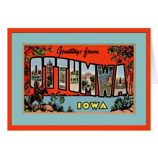Ottumwa Iowa Large Letter Greetings Greeting Card