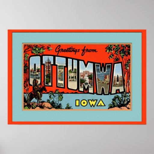 Ottumwa Iowa Large Letter Greetings Print