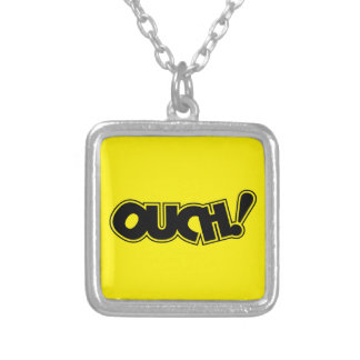 OUCH! COMIC OUCH COMIC-BOOK EXCLAMATION SHOUT COMM SQUARE PENDANT NECKLACE