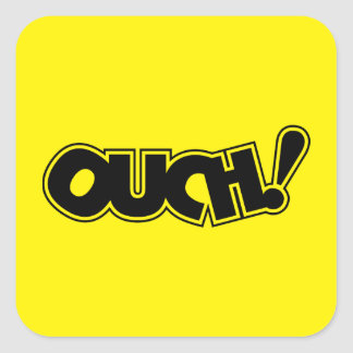 OUCH! COMIC OUCH COMIC-BOOK EXCLAMATION SHOUT COMM SQUARE STICKER