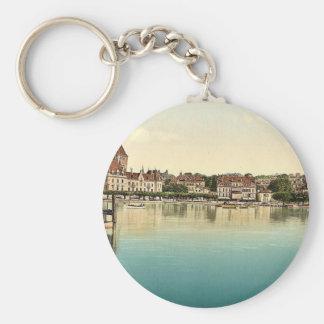 Ouchy, Hotel de Chateaux, Geneva Lake, Switzerland Basic Round Button Keychain