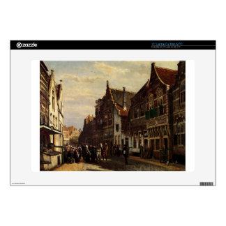 Oudewater Street At Summer by Cornelis Springer Skin For Laptop
