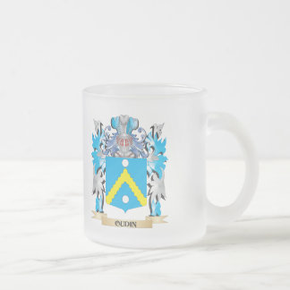 Oudin Coat of Arms - Family Crest 10 Oz Frosted Glass Coffee Mug