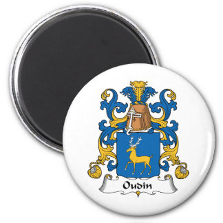 Oudin Family Crest 2 Inch Round Magnet