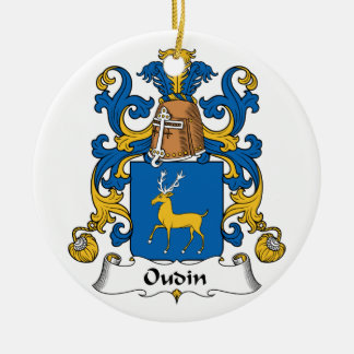 Oudin Family Crest Double-Sided Ceramic Round Christmas Ornament