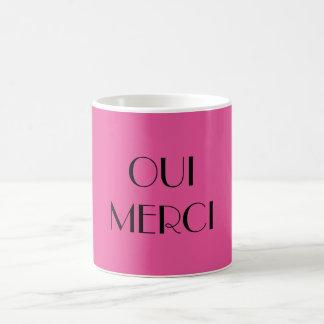 OUI MERCI Pink Coffee Mug