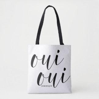 Oui Oui Black Modern Calligraphy Polka Dots Tote Bag