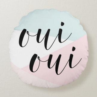 Oui Oui Modern Calligraphy Blush Geometric Round Pillow