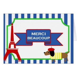 Oui Oui Paris Art Dog and Eiffel Tower Card