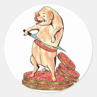 Oui retro de Oui del cerdo de Hara Kari de la Pegatina Redonda