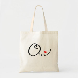 Oui Yes French Script Black Red Heart Typography Budget Tote Bag