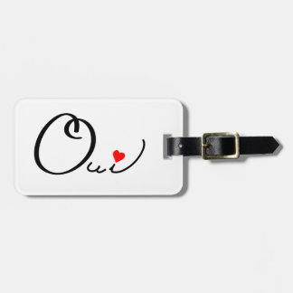 Oui Yes French Script White Red Heart Typography Luggage Tag