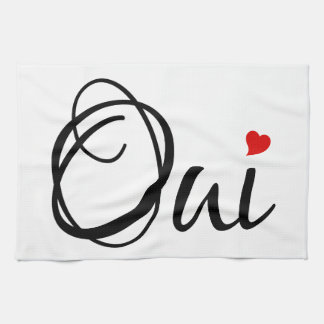 Oui, yes, French word art with red heart Hand Towel