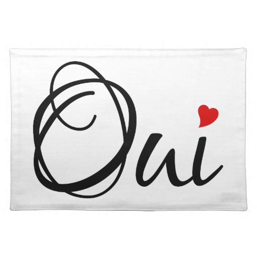 Oui Yes French Word Art With Red Heart Place Mat Zazzle