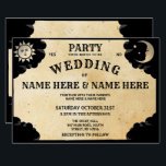 "Ouija Wedding Party Halloween Gothic Invite<br><div class=""desc"">Ouija Skull Wedding invitation - Invite your guests to the party with this rustic style skull engagement invite. Back print included. Simply edit the text to suit your party.</div>"