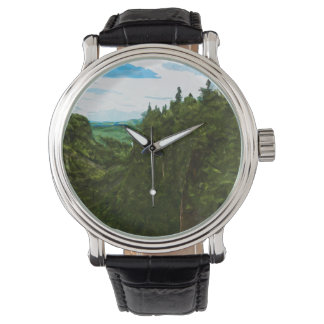 Ouimet Canyon Canada Abstract Impressionism Wrist Watch