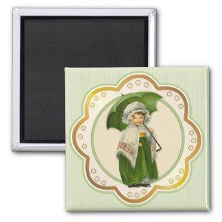 Ould Ireland Irish Umbrella Girl Magnet