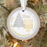 """Our 1st Chrismukkah Chic Keepsake Holiday Photo Ornament<br><div class=""""desc"""">Create your own chic OUR 1ST CHRISMUKKAH photo ornament with your name, year for a one of a kind holiday family keepsake. From the simple gold Hanukkah menorah to the polka dot silver Christmas tree, this white, silvery gray and warm tan """"toasted almond"""" ornament will commemorate your first blended holiday....</div>"""
