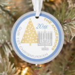 """Our 1st Chrismukkah Menorah Tree Keepsake Photo Ornament<br><div class=""""desc"""">Create your own OUR 1ST CHRISMUKKAH ornament with your photo on the reverse side for a one of a kind family keepsake. From the simple gold Christmas tree to the silver Hanukkah menorah, this blue, white and purple ornament will commemorate your first blended holiday. Upload your photo on the flip...</div>"""