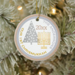 """Our 1st Chrismukkah Tree Menorah Keepsake Photo Ceramic Ornament<br><div class=""""desc"""">Personalize this chic OUR 1ST CHRISMUKKAH ornament with your name, year and photo for a one of a kind family keepsake. From the gold tone Hanukkah menorah to the silver tone Christmas tree, this white, silvery gray and warm toasted almond tan ornament will commemorate your first blended holiday. Upload your...</div>"""