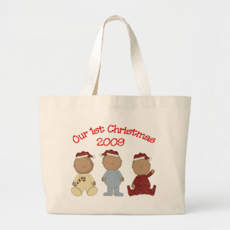 Our 1st Christmas 2009 (African American Triplets) Large Tote Bag