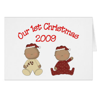 Our 1st Christmas 2009 (African American Twins) Card