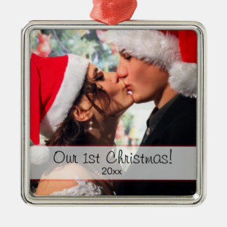 Our 1st Christmas - add your photo Metal Ornament