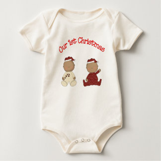 Our 1st Christmas (African American Twins) Baby Bodysuit