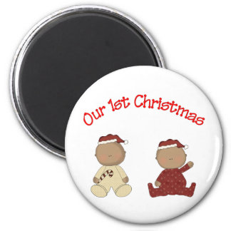 Our 1st Christmas (African American Twins) Fridge Magnets