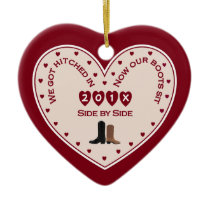 Our 1st Christmas Married Country Western Ceramic Ornament
