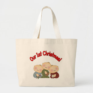 Our 1st Christmas (Triplets) Large Tote Bag