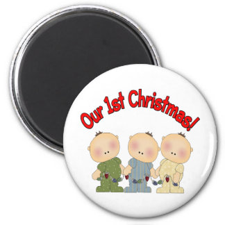 Our 1st Christmas (Triplets) Fridge Magnet