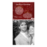 Our 1st Christmas White Ornaments Photo Card