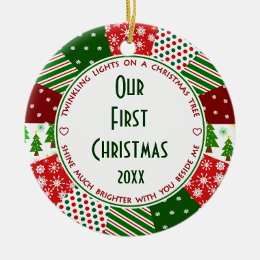 Our 1st First Christmas Married Ceramic Ornament