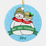 Our 40th Christmas Double-Sided Ceramic Round Christmas Ornament