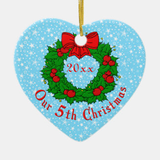 Our 5th Anniversary Ceramic Ornament