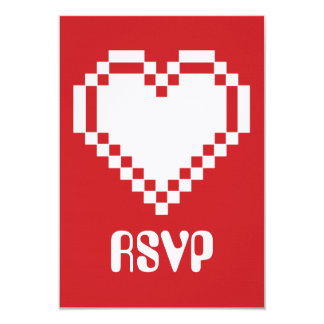 Our 8-Bit Hearts in Cherry RSVP Card