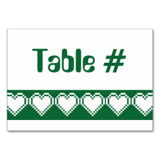Our 8-Bit Hearts in Green Table Card