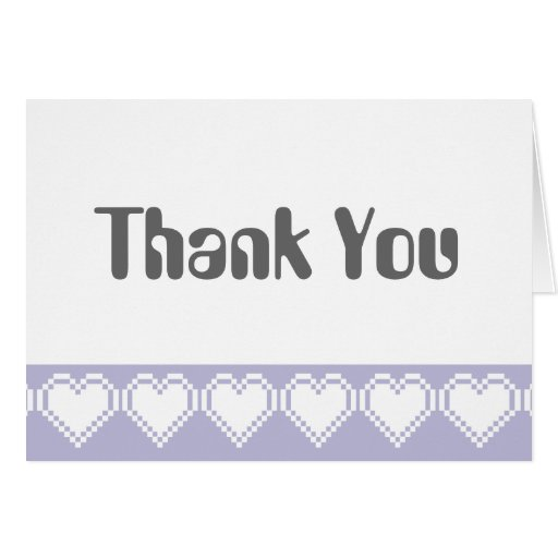 Our 8-Bit Hearts in Lavender Thank You Card
