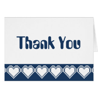 Our 8-Bit Hearts in Navy Thank You Card