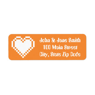 Our 8-Bit Hearts in Orange Return Address Label